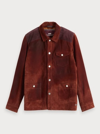 Scotch & Soda  Shirt-Jacke aus Wildleder im Colorblock-Design Herren L Braun grau