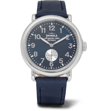 Shinola The Runwell 41mm Stainless Steel And Leather Watch - Blue grau
