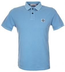 Stone Island Herren Poloshirt kurzarm Hellblau blau