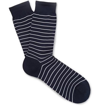 Sunspel Striped Mercerised Cotton-blend Socks - Navy schwarz
