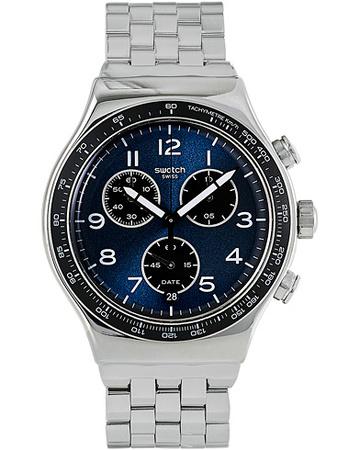 Swatch Uhren von . Grösse: One size. Farbe: Blau,Silber.  Boxengasse Steel Herren grau