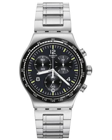 Swatch Uhren von . Grösse: One size. Farbe: Schwarz,Silber.  Night Flight Steel Herren grau