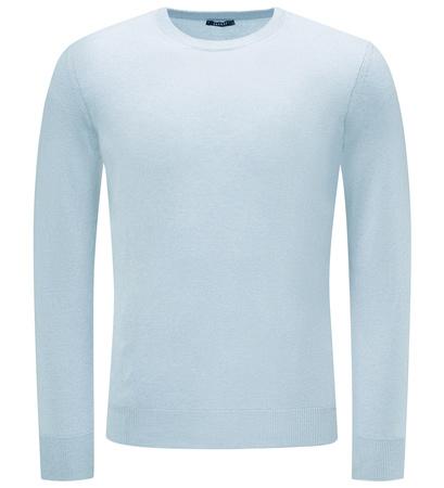 04651/ Sylt Cashmere R-Neck Pullover hellblau grau