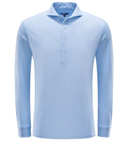 04651/ Sylt Longsleeve-Poloshirt hellblau blau