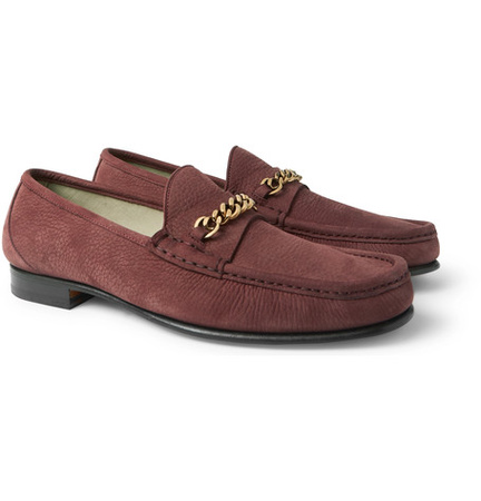 Tom Ford York Chain-trimmed Nubuck Loafers - Red braun