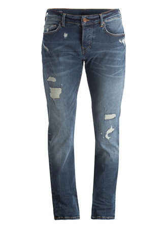 True Religion  Destroyed-Jeans ROCCO Relaxed-Skinny Fit grau