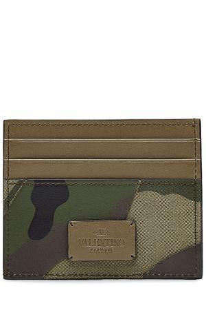 Valentino  Bedrucktes Karten-Etui mit Leder - Schwarz Gr. One Size braun