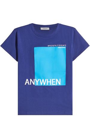 Valentino  Bedrucktes T-Shirt aus Baumwolle blau