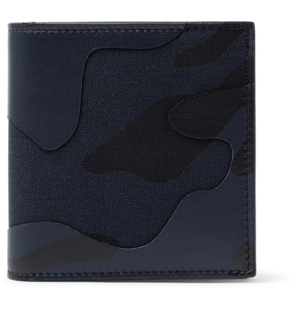Valentino Camouflage-print Leather And Canvas Wallet - Blau grau