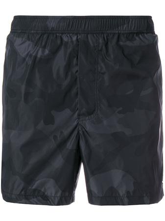 Valentino  camouflage print swim shorts - Schwarz