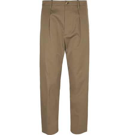 Valentino Cropped Cotton Trousers - Beige braun
