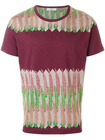 Valentino  feather print T-shirt - Rot