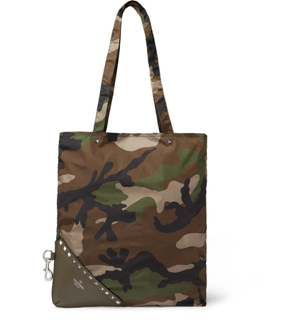Valentino Packaway Camouflage-print Shell And Leather Tote Bag - Green grau