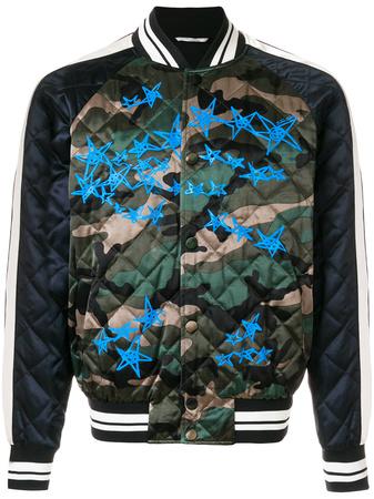 Valentino  quilted camouflage bomber jacket - Grün
