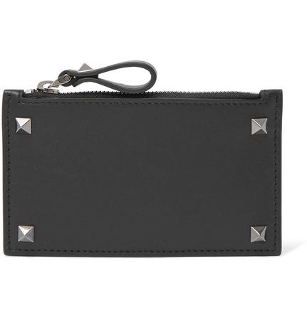 Valentino Rockstud Leather Zipped Cardholder - Black grau