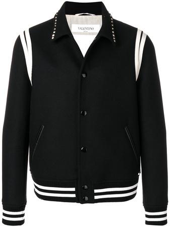 Valentino  studded collar college jacket - Schwarz