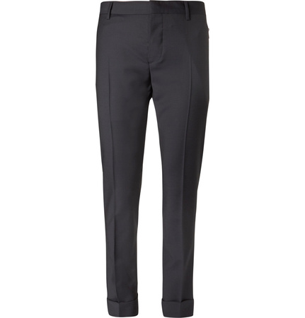 Valentino Wool And Mohair-blend Trousers - Navy grau