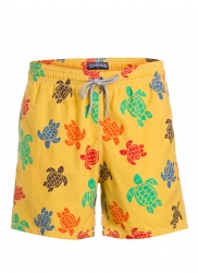 Vilebrequin Herren Badeshort Moorea mit Turtleprint Gelb orange