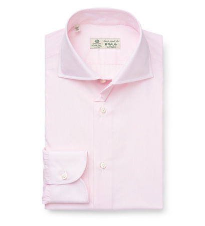 Borrelli Business Hemd 'Nando' Haifisch-Kragen rosé/weiß gestreift braun