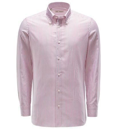 Borrelli Oxfordhemd Button-Down-Kragen rot/weiß gestreift braun