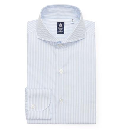 Finamore Business Hemd 'Sergio Napoli' Haifisch-Kragen pastellblau/weiß gestreift grau