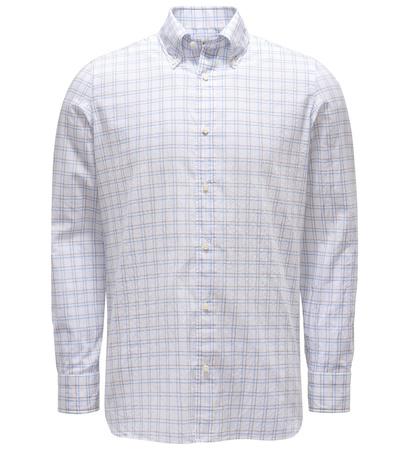 Borrelli Seersucker-Hemd Button-Down-Kragen grau/weiß kariert