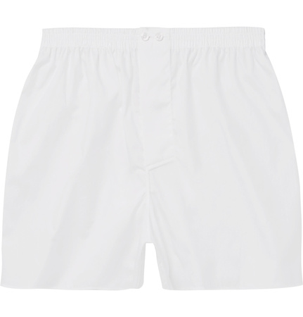 Zimmerli Mercerised Cotton Boxer Shorts - White weiss